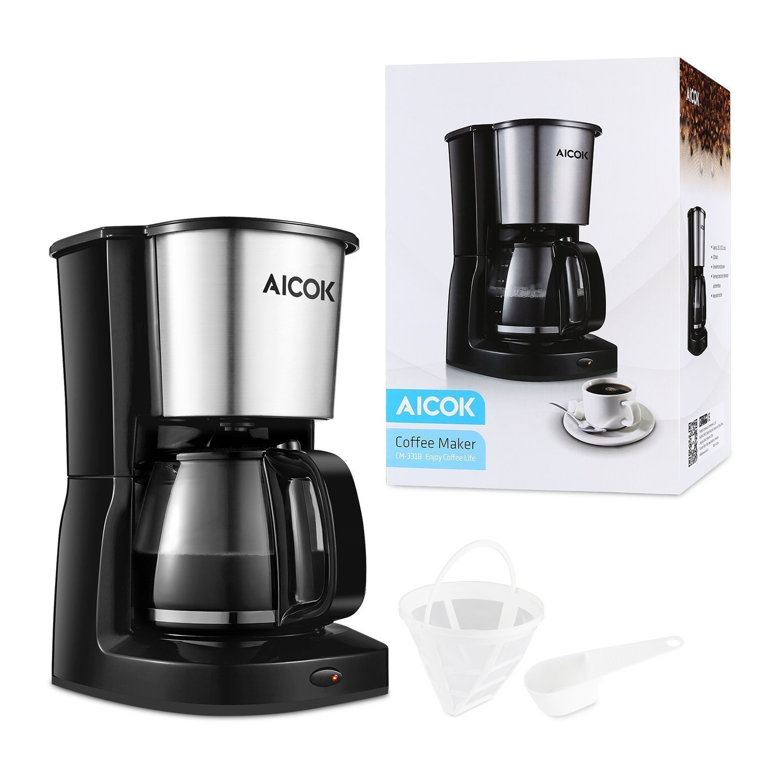 Aicok 10 cup drip coffee maker thermal coffee machine best for Best drip coffee maker reviews