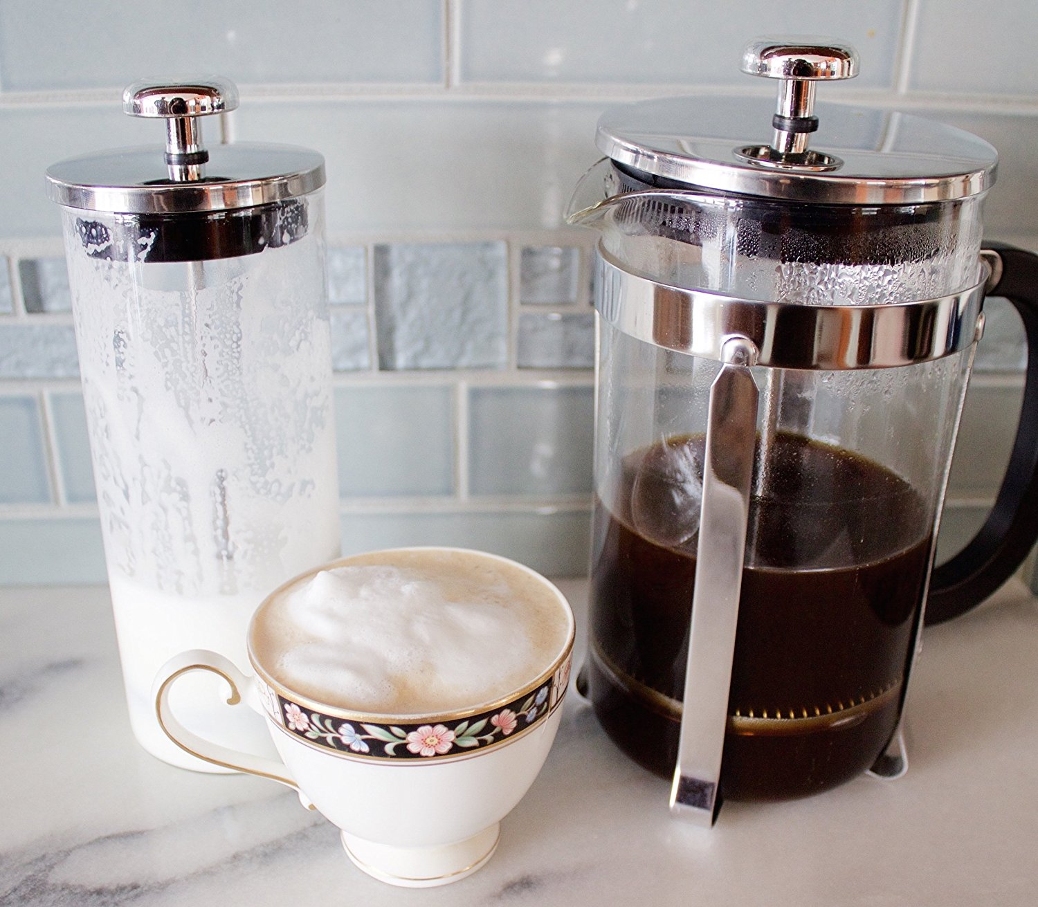 zell french press coffee maker with stainless steel frame and glass milk frother set best price. Black Bedroom Furniture Sets. Home Design Ideas