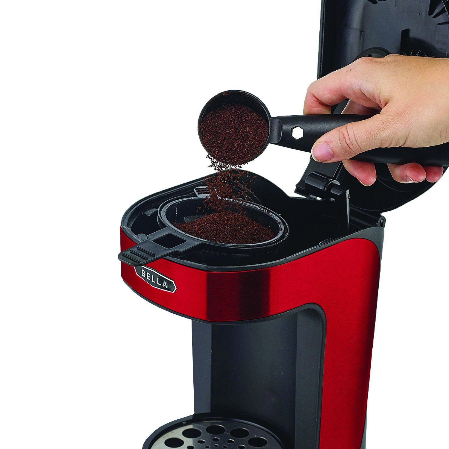 Bella One Scoop One Cup Coffee Maker Red2 Coffee Maker That Makes Cappuccino