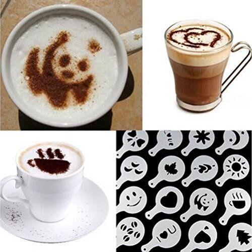 Drhob Hot 16Pcs Coffee Latte Art Stencils