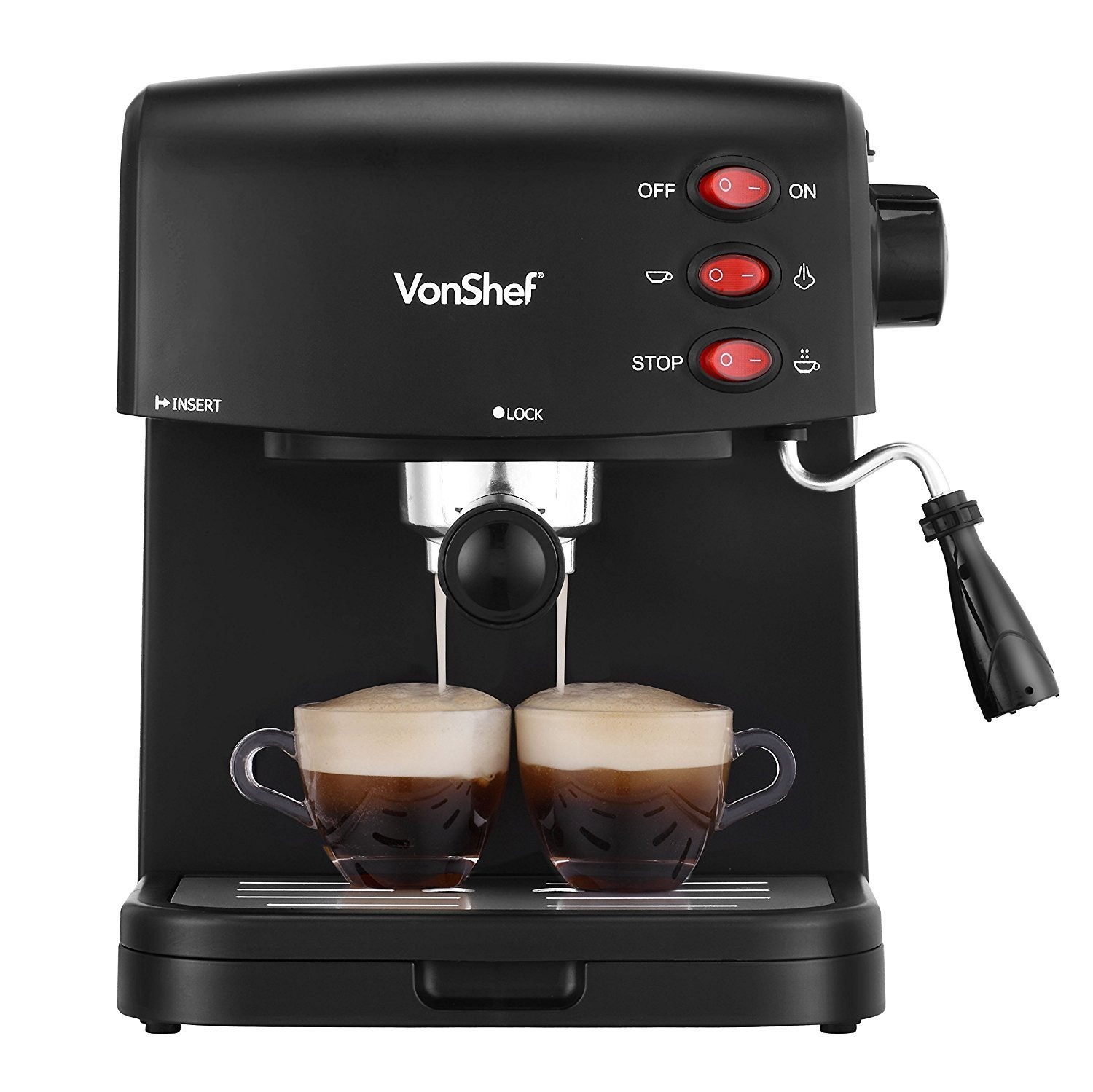 VonShef 15 Bar Pump Espresso Coffee Maker Machine