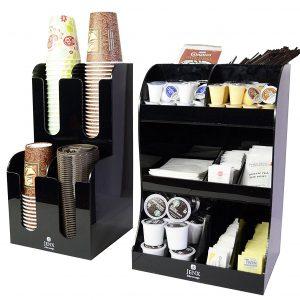 Jenx 2 Piece Combo Acrylic Coffee Condiment and Accessories Organizer