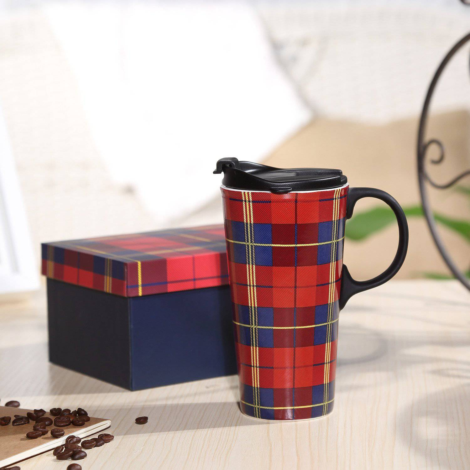 Travel Coffee Ceramic Mug With Lid Gift Box