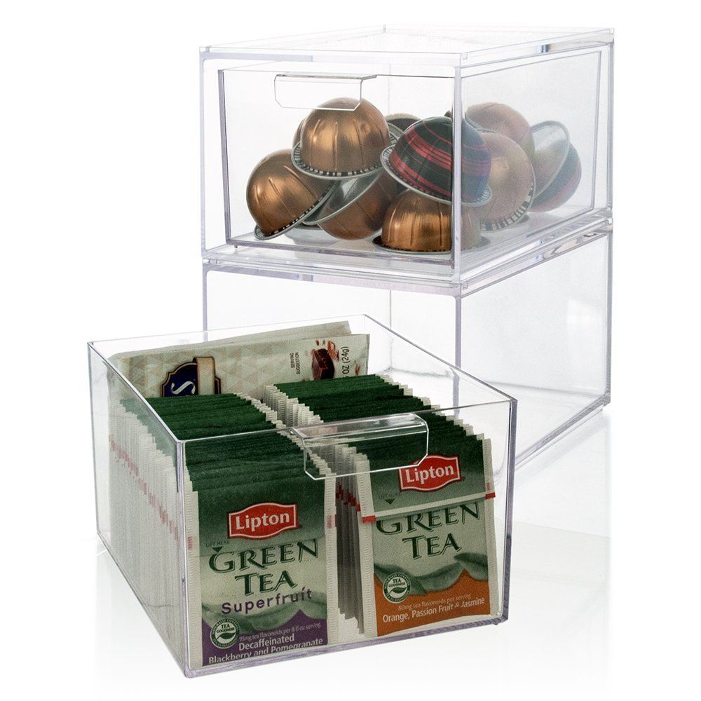 2 Pack Stackable Clear Plastic Coffee Pod Holder And