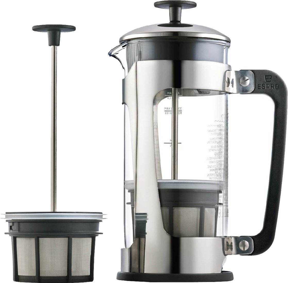2Espro Coffee Press P5 18 oz Glass Carafe and Stainless Steel Cage French Press Stainless Steel Coffee Makers