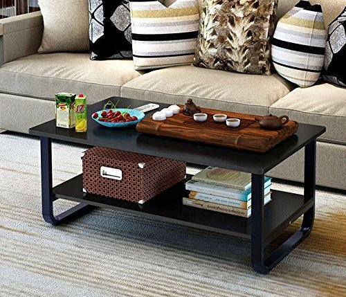 Large Coffee Table Small Room: Modern Large Coffee Table With Lower Storage Shelf For