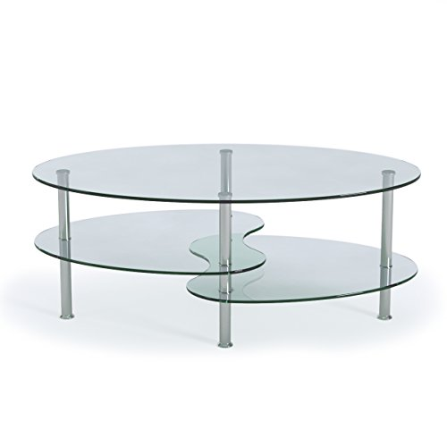 Ryan rove ashley 38 inch oval two tier all clear glass for Glass tea table price