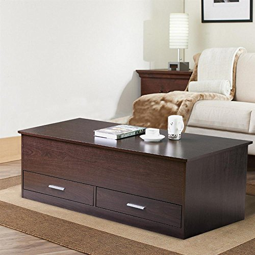 Coffee Table With Sliding Top Storage.Yaheetech Slide Top Trunk Coffee Table With Storage Box 2 Drawers