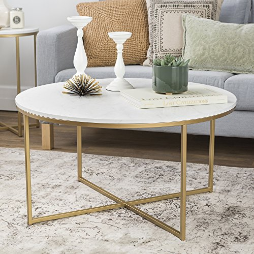 We Furniture 36 Coffee Table With X Base Marble Gold