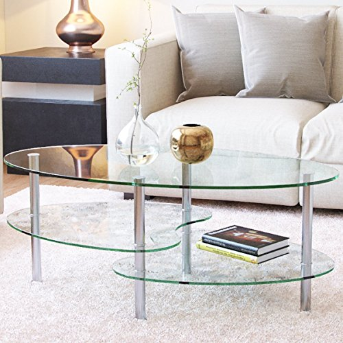 Ryan Rove Ashley 38 Inch Oval Two Tier All Clear Glass