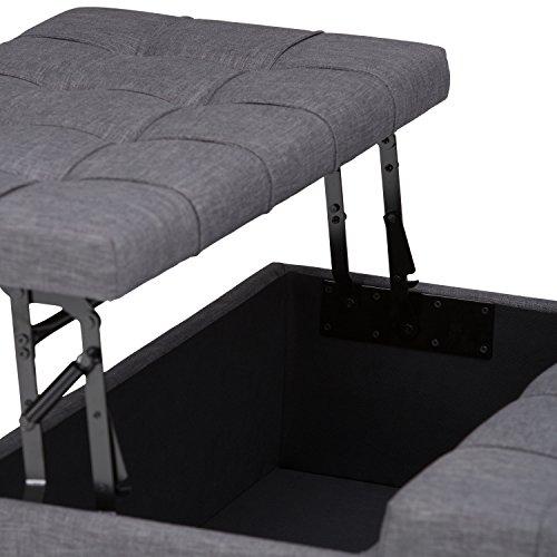 Harrison Industrial Coffee Table: Simpli Home Harrison Coffee Table Storage Ottoman, Slate