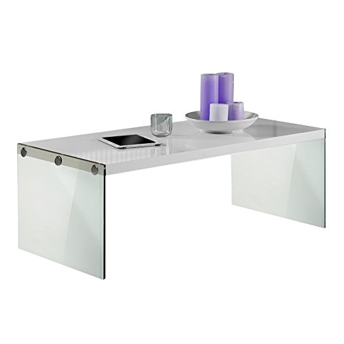Glossy White Contemporary Clear Temper Glass Sleek Modern: Monarch Specialties, Coffee Table, Tempered Glass