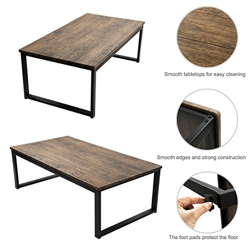 Aingoo Rustic Wooden Coffee Table With Metal Frame Dark Brown