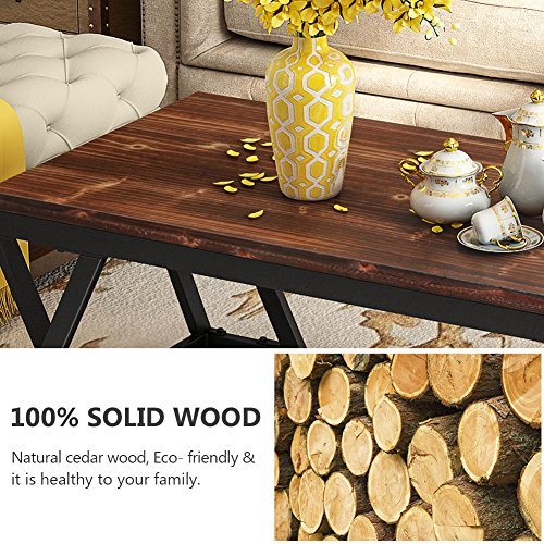 """Tribesigns 47"""" Rustic Style Solid Wood Coffee Table"""