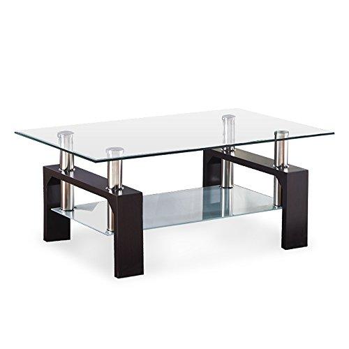 Superieur SUNCOO Rectangular Glass Coffee Table Shelf Wood