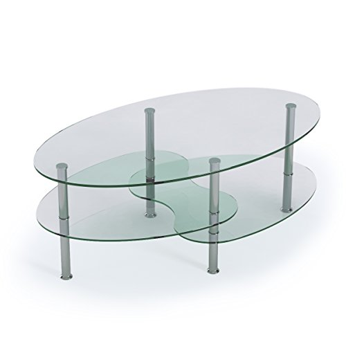 Ryan Rove Ashley 38 Inch Oval Two Tier All Clear Glass Coffee Table