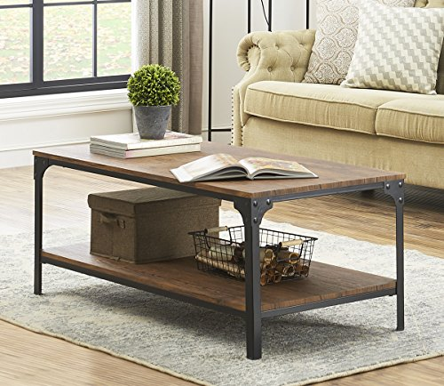 Rolling Coffee Table With Storage: O&K Furniture Industrial Rectangular Coffee Table With