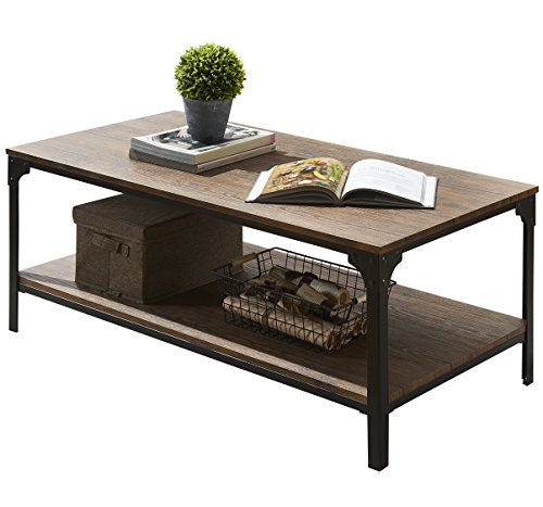 o k furniture industrial rectangular coffee table with storage bottom shelf brown best price review. Black Bedroom Furniture Sets. Home Design Ideas
