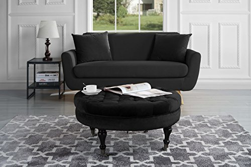 divano roma furniture round tufted velvet coffee table with casters ottoman with wheels black