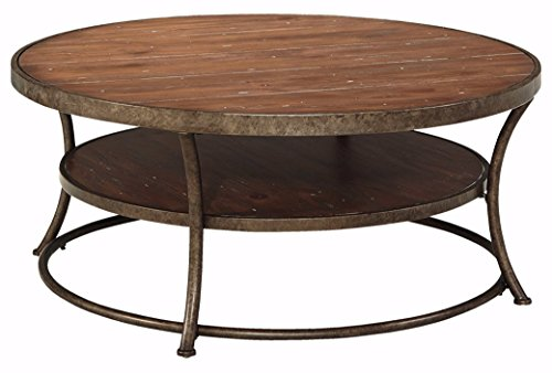 Ashley Furniture Signature Design Nartina Casual Round Cocktail Table Light Brown