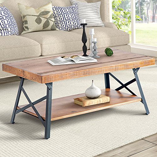 "Table Bois Metal Design: Harper&Bright Designs Lindor Collection 43"" Wood Coffee"