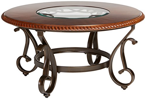 Ashley Furniture Signature Design Gambrey Traditional Round Cocktail Table With Glass Inlay Reddish Brown