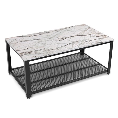 Songmics Faux Marble Coffee Table Tail Storage Shelf Living Room Easy Embly