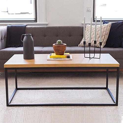Industrial Coffee Table Dark Wood: Nathan James Doxa Solid Wood Modern Industrial, Coffee