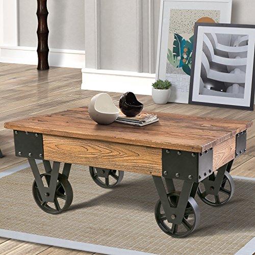 Wood Coffee Metal Wheels, End Table/Living Room Set/Rustic