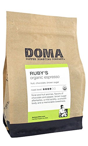 Doma Coffee Ruby S Organic Espresso Medium Roasted Fair Trade Whole Bean 12 Ounce Bag