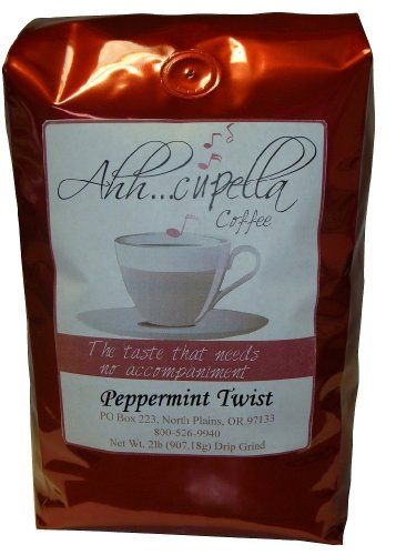 Ahh..Cupella Premium Gourmet Peppermint Twist Flavored Whole Bean Coffee, 32oz bag