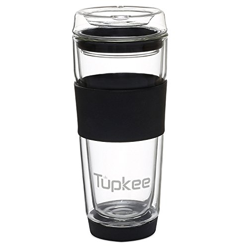 Tupkee Double Wall Glass Tumbler Insulated Tea Coffee