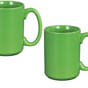 El Grande Style Large Ceramic Coffee Mug With Big Handle, Green 15 oz. (Pack of 2)