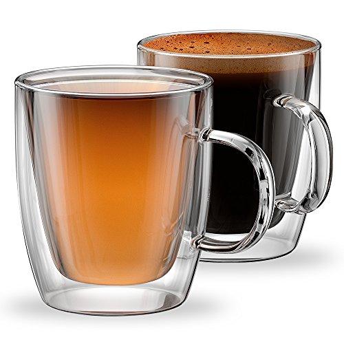 ece964c3f93f Stone & Mill Double Wall Insulated Glass Coffee Mugs for Espresso, Latte,  Cappuccino,