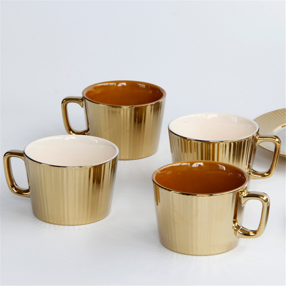 250ML Nordic Ceramics Gold Coffee Mug Chic Scandinavian Coffee and TEA, Coffee Tools, Coffee ...