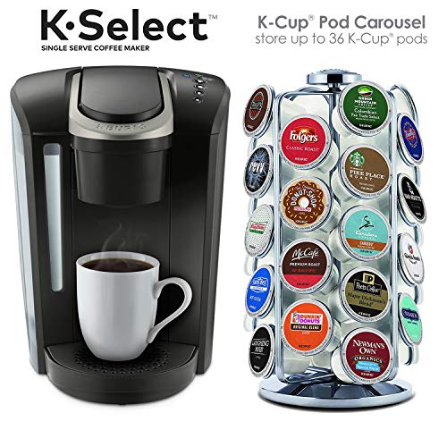 Black and K-Cup Pod Carousel Coffee Machine Accessory