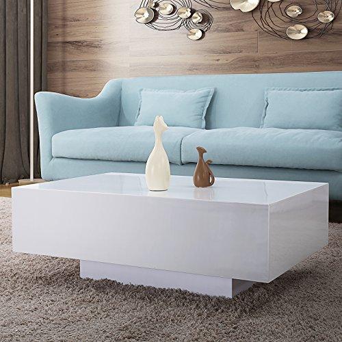 Mecor High Gloss White Rectangle Coffee Table Modern Side End Sofa