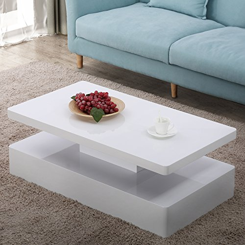 Mecor Modern Glossy White Coffee Table W Led Lighting