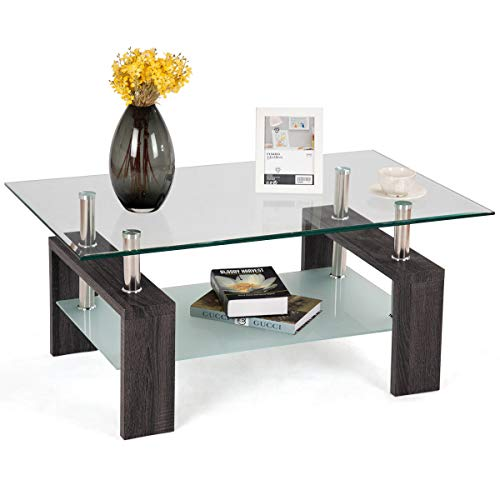 Rectangular Wood Legs End Side Table Living Room