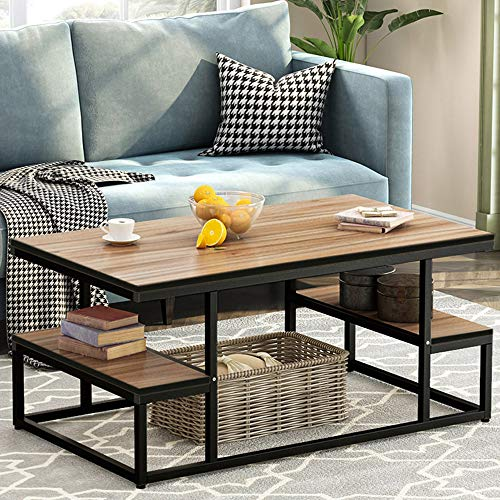 "Tribesigns Modern Coffee Table, 48"" Cocktail Table with Open Storage Shelf"