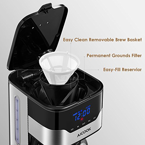 Carafe Anti-Drip System Coffee Maker Permanent Reusable Filter Black and Silver. Aicook 12 Cup Programmable Coffee Maker with Timer Filter Coffee Machine