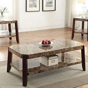 Acme Furniture Dacia Coffee Table, Faux Marble & Brown