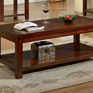 America Torrence Transitional Coffee Table, Dark Cherry