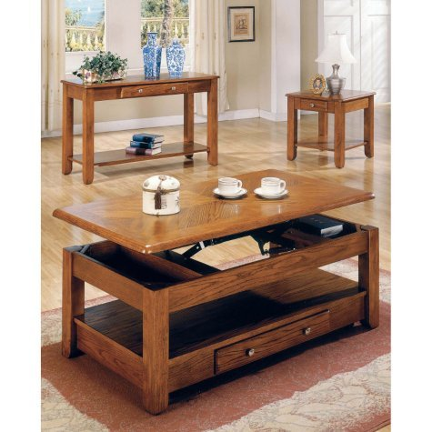 Lift Top Coffee Table Oak With Storage Drawers