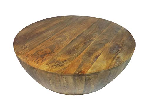Coffee Table In Round Shape With Distressed Finish