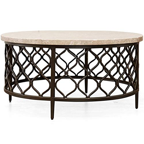 """Steve Silver Roland 36"""" Round Stone Top Coffee Table in Yellow"""
