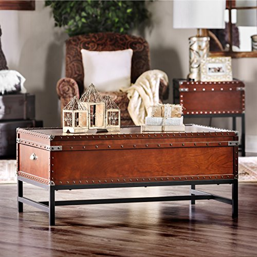 Furniture Of America Cassone Contemporary Trunk Style Coffee Table Cherry Sale Coffee Tables Shop Buymorecoffee Com