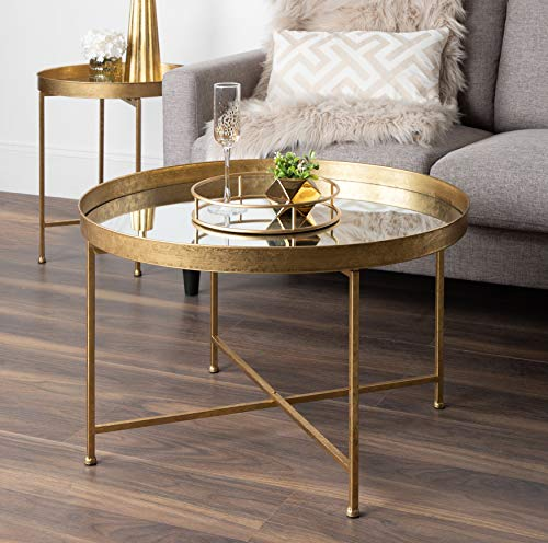 Round Metal Foldable Coffee Table with Mirrored Tray Top ...