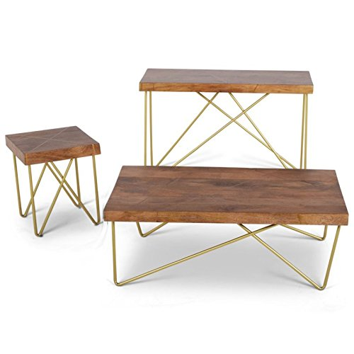Walter Coffee Table in Warm Pine and Brass