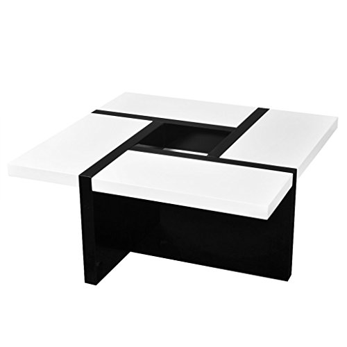 Festnight High Gloss Coffee Table Middle Storage Black And White